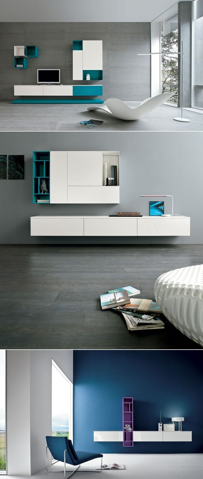 bold contemporary white and turquoise storage units with open and closed compartments look amazing and take no floor space