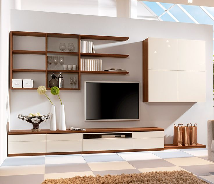 a rich stained and white storage wall mounted system with open and closed storage compartments and shelves is very cool