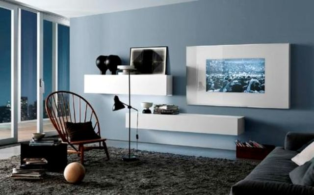 a duo of sleek white storage units on the wall is an ideal option for a minimalist or contemporary space