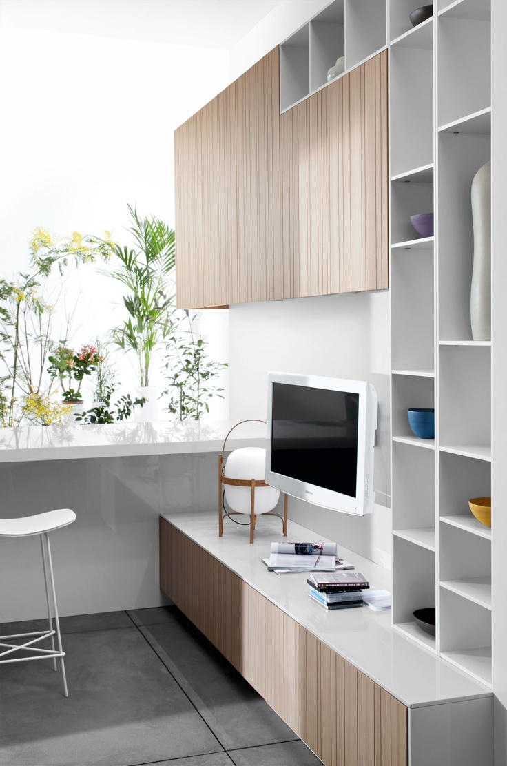 a modern wall unit for a scandinavian living room