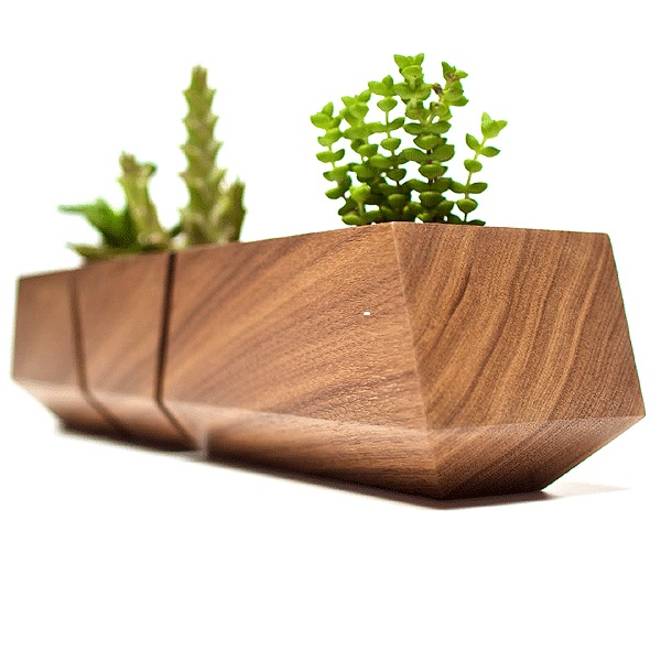 Stylish Natural Walnut Boxcar Planter For Succulents