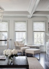 delicate and subtle Roman shades make the windows look dressed and chic and give more privacy to the house when in need