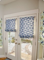 simple blue printed Roman shades hanging on the doors will make your home more private and you can easily DIY them