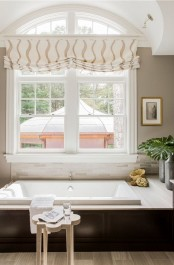 a printed Roman shade spruces up the bathroom and makes the space very cool, chic and elegant and highlight the space