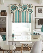 a white, grey, turquoise Roman shade with an additional floral detail on top is a lovely idea to add a bright and cool touch to the kitchen