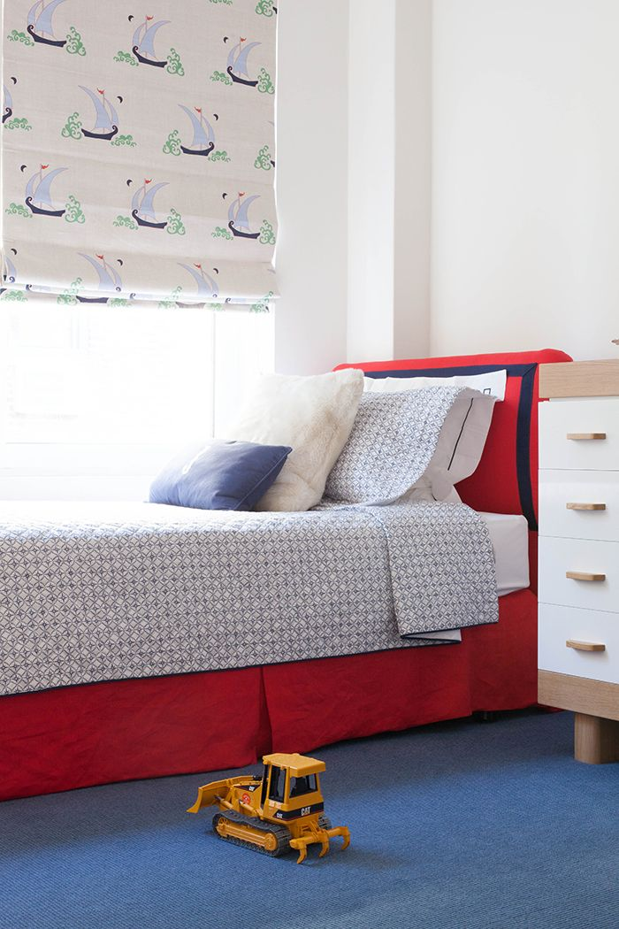 a bright and fun printed Roman shade like this one is a cool idea for a bright and cool kids' room