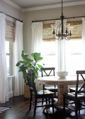 woven Roman shades with neutral curtains are two layers to block sunlight and make your home more private, choose what you like or use both
