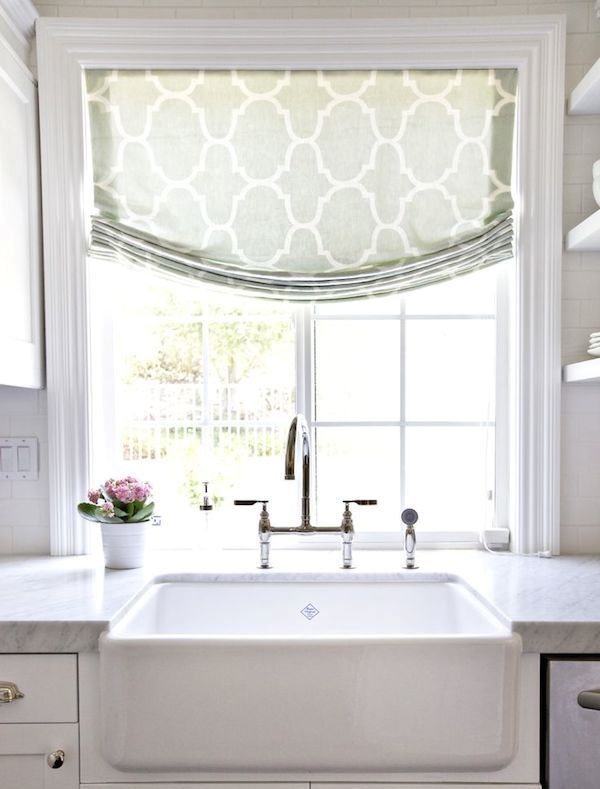 a lovely green printed Roman shade is a cool idea for a modern or vintage farmhouse kitchen or some other room