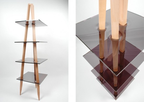 Stylish Shelf Of Wood And Acryl