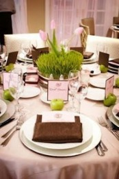 a bright spring place setting with a grass centerpiece, green apples and pink as the main color