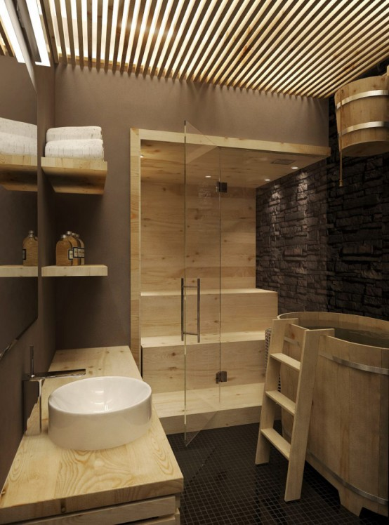 a tiny steam room fully clad with wood, with step benches and glass doors is a lovely relaxation oasis