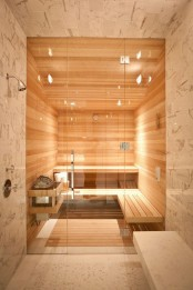 a cozy steam room fully clad with wood, with some benches and built-in lights plus glass doors is amazing