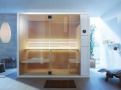 a tiny modern steam room with wood and metal, with several benches for sitting and lying and lights on the wall