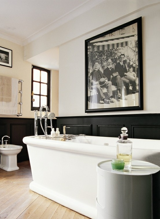 masculine design ideas history frame historical black white photo modern bathroom classic traditional toilet bath tub