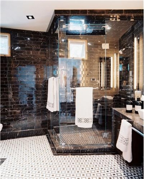 Tiles with gorgeous geometric patterns works great in bathrooms.