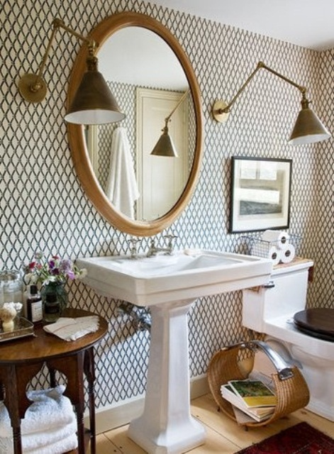 Good looking wall lights could serve as a visual focal point in a bathroom without other distinctive features.