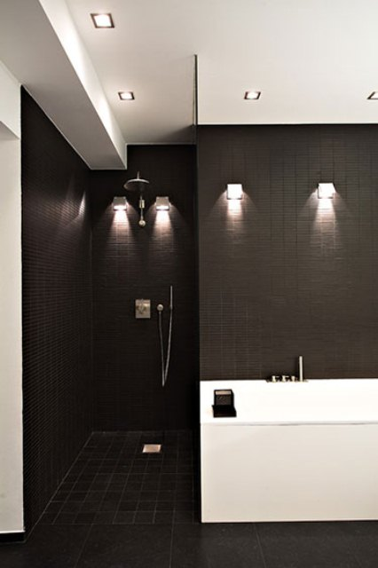 Choosing creative bathroom lights is very important for minimalist bathroom designs.