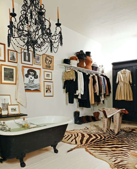 For a real fashionista, combining a bathroom with a closet doesn't sound like crazy idea.