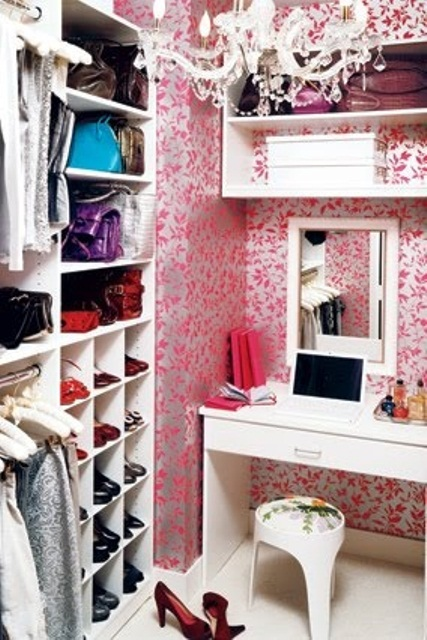 You can combine a tiny home office with a walk in closet. The desk would also serve you as a dressing table. Just make sure to hang a mirror behind it.