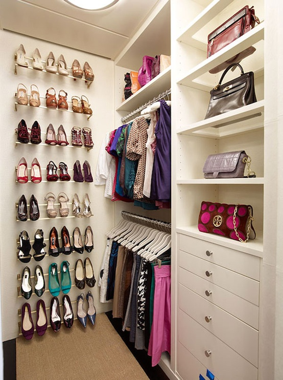 simple rails are the perfect solutions for displaying high heeled shoe on your wall - Small Walk In Closet Design Ideas