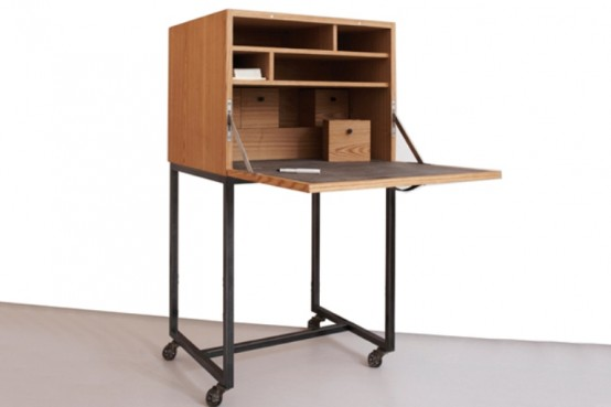 Stylish Wooden Bar And Secretary In One