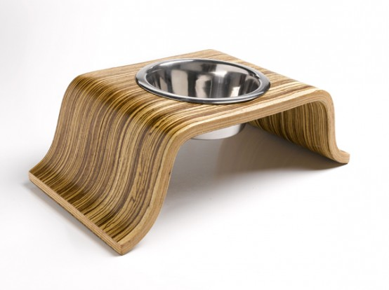 Modern Indoor Dog Bowls Made of Zebrawood Veneer