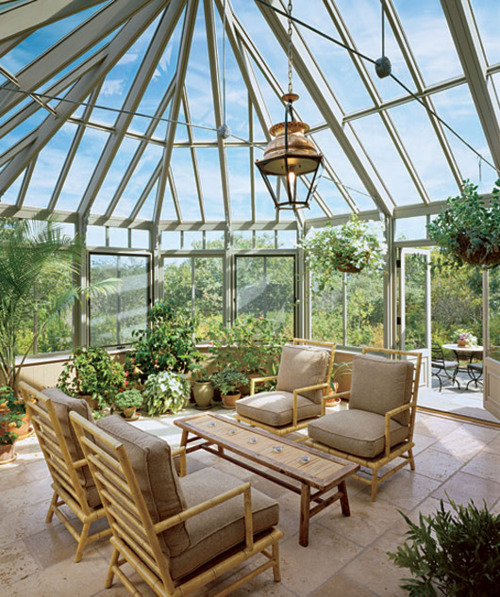 It's especially great when not only walls made of glass but sunroom's roof too. Perfect place for an indoor garden.