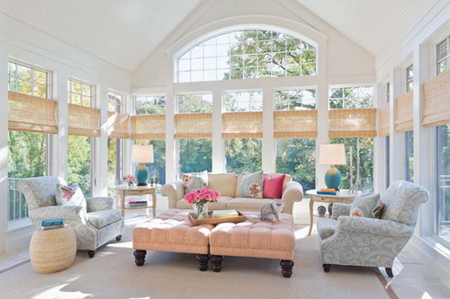 sunroom decorated in neutral tones - Sunroom Design Ideas
