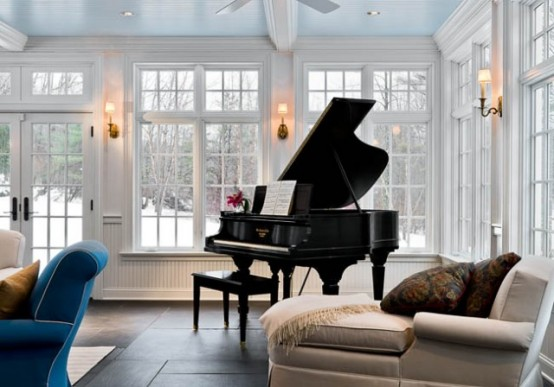 75 awesome sunroom design ideas digsdigs for Grand piano in living room