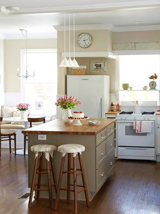 38 super cozy and charming cottage kitchens digsdigs - Charming small kitchen table ideas eat kitchen plan ...