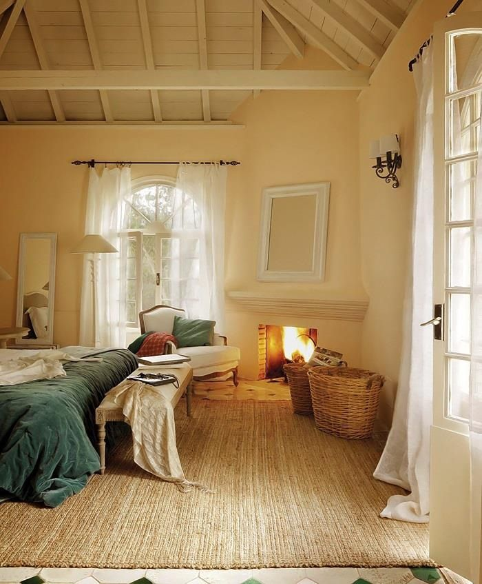 Picture of super cozy and comfy bedrooms with a fireplace - Artistic wood clad design for warm essence in your house ...