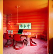 Super Modern Bright Red Orange Dining Area