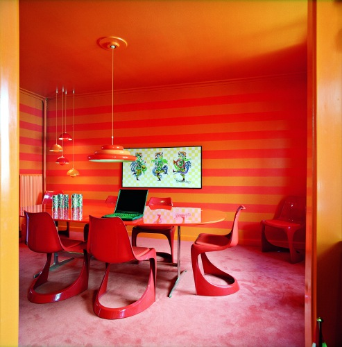 Super Modern Bright Red Orange Dining Area