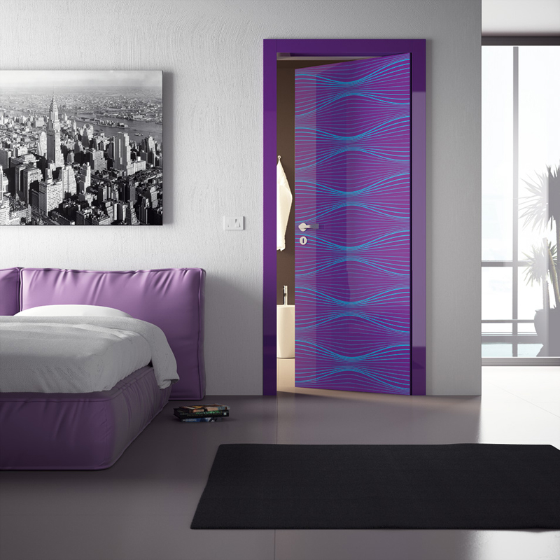 Super Modern Interior Doors With Cool Graphic and Colors