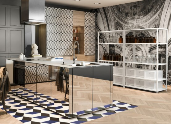 Super modern patterned loft kitchen designs by neo digsdigs for Attic kitchen designs
