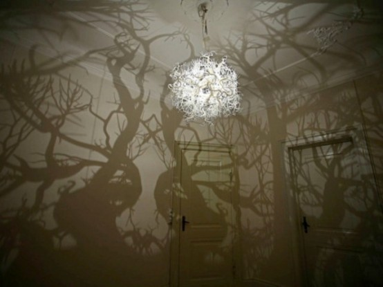 Surrealistic Chandelier With A Mirroring Effect