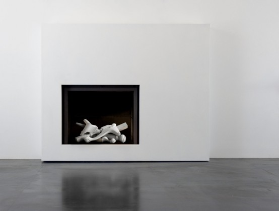 Surrealistic Fireplace With Ceramic Logs