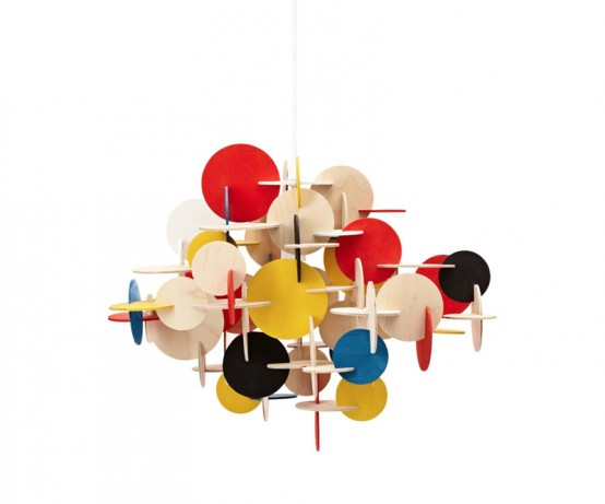 Suspension Lamp Made Of Plywood Pieces