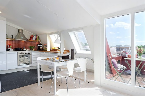 Sweden Apartment Design with Cool 10 Square Meter Roof Terrace