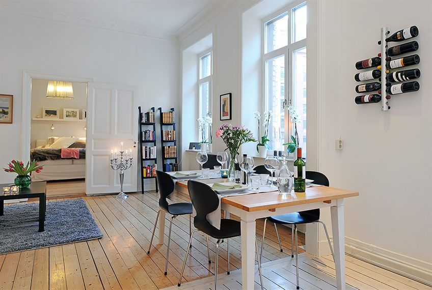 Swedish 58 Square Meter Apartment Interior Design With Open Floor Plan Digs