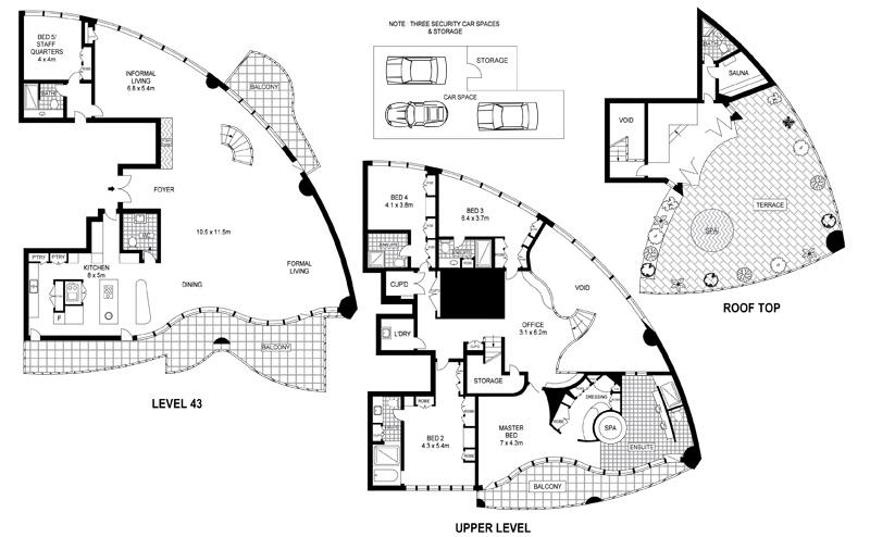 Sydney 39 s luxury penthouse apartment digsdigs for Apartment floor plans australia