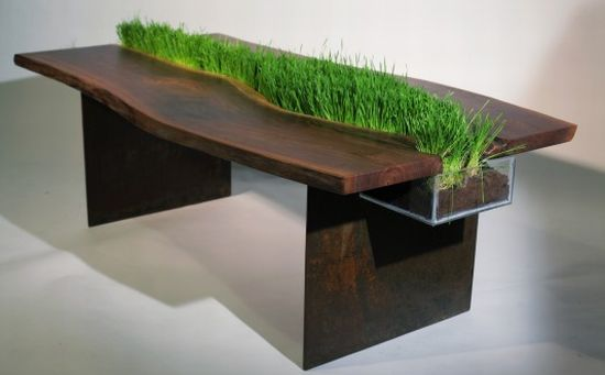 Table With A Planter Through Its Middle