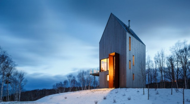 Tall And Narrow Wooden Cabin House In Nova Scotia