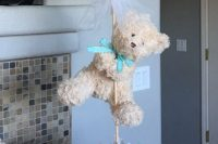 teddy bear centerpiece for a boy baby shower