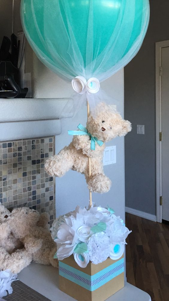 picture of teddy bear centerpiece for a boy baby shower