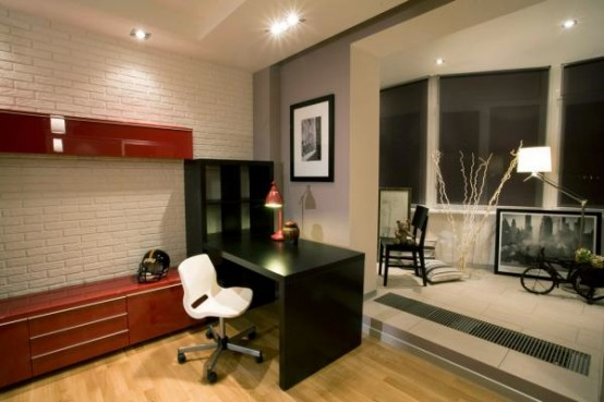 a contrasting white, red and black teen bedroom, a colorful contemporary furniture, large windows and much light