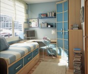 a stylish small blue and tan teen room with a bed with drawers for storage, a corner desk and a curved wardrobe, floating shelves and stacked books