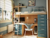 a small blue and tan teen room with a blue accent wall, a striped one, a bed with lots of storage, a small desk under it and some decor