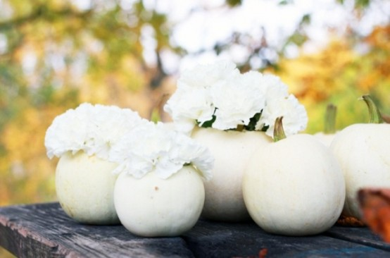 white pumpkins with white blooms can be used for Thanksgiving decor both indoors and outdoors