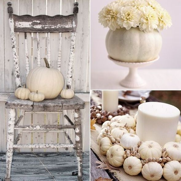 white pumpkins, white blooms and candles are ideal for chic and elegant Thanksgiving decor in neutrals